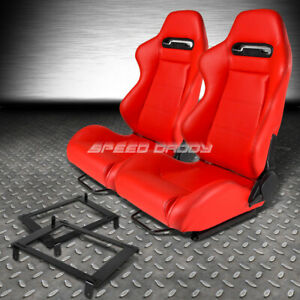 Type R Red Pvc Leather L R Racing Seat Low Mount Bracket For 02 06 Dc5 Acura Rsx