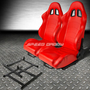 Red Pvc Leather Reclinable Racing Seat low mount Bracket For Ap1 Honda S2000 S2k