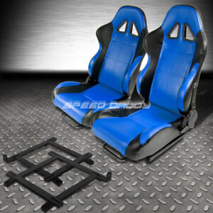 2 X Blue black Pvc Leather Racing Seat low mount Bracket For 99 04 Ford Mustang