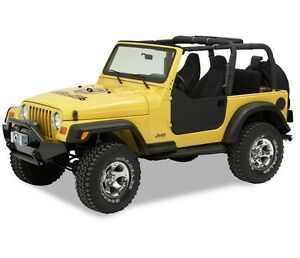Bestop Left Right Lower Black Half Doors With Latches For Jeep Wrangler Tj