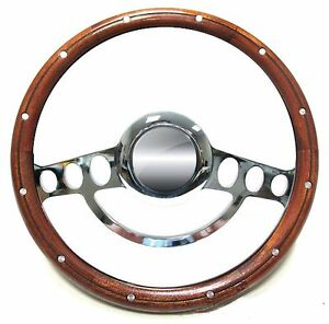 1955 1960 Chevy Pick Up W Aftermarket Gm Column Wood Chrome Steering Wheel
