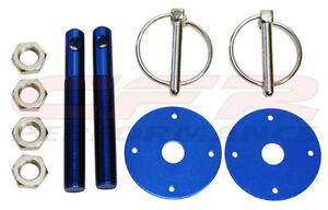 Blue Hood Pin Kit Flip Over Style Universal For Chevy Ford Mopar Free Shipping