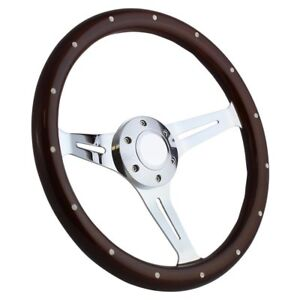 Hot Rod Rat Rod Street Rod Muscle Car 15 Steering Wheel Mahogany Chrome