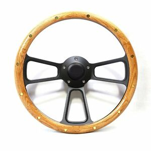 1969 Ford Truck F100 F250 F350 Real Oak Black Billet Steering Wheel Horn