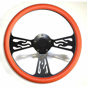 Hot Rod Orange Black Flamed Billet Steering Wheel Horn For Gm Column