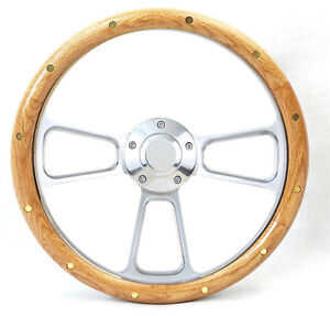 1970 1977 Ford Truck F Series Riveted Oak Billet Steering Wheel Kit