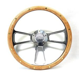 Flaming River Column Ididit Steering Wheel Oak And Billet Chevy Horn