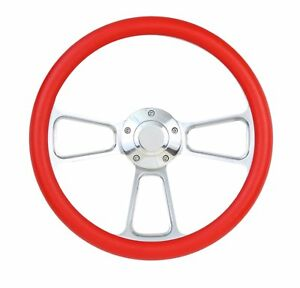 Red Steering Wheel For Flaming River Ididit Steering Column 14 With Horn
