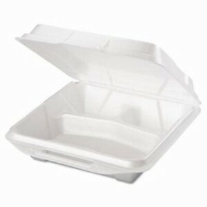 Large Three Compartment Foam Hinged Containers 200 Containers gnp 20310