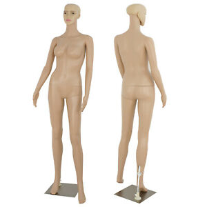 Plastic Realistic Display Head Turns Dress Form W Base Female Mannequin