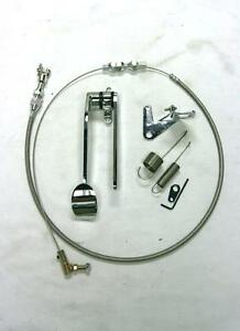 Street Rod Chrome Spoon Gas Pedal 24 Ss Throttle Cable Bracket Spring Kit