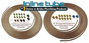 Copper Nickel Brake Line Tubing Kit 3 16 And 1 4 25 Ft Coil Rolls With Fittings