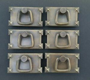 6 Mission Stickley Antique Style Brass Horizontal Ring Handles Pulls H26