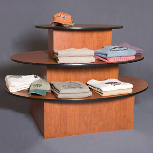 3 tier Oval Merchandise Display Table Retail Clothing Stand Cherry Knockdown New