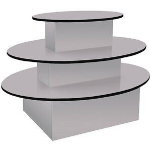 Gray Oval Merchandiser Display 3 tier Table Retail Clothing Stand Knockdown New