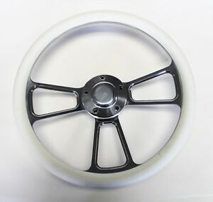 1955 1956 Chevrolet Bel Air White And Billet Steering Wheel 14 Polished Cap