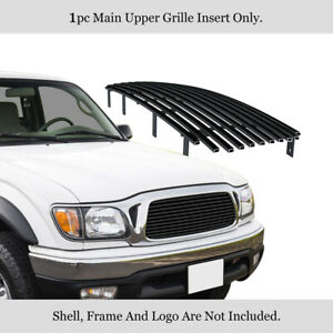 Fits 2001 2004 Toyota Tacoma Center Section Black Stainless Steel Billet Grille