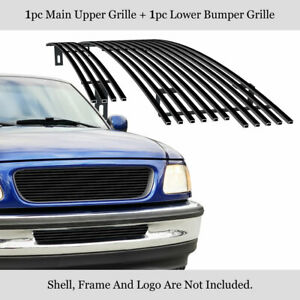 Fits 1997 1998 Ford F 150 2wd Bar Style Stainless Black Billet Grille Combo
