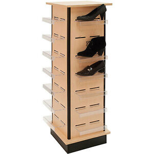 Shoe Display Tower Retail 28 Shelf Footwear Fixture Knockdown Maple Usa Made New