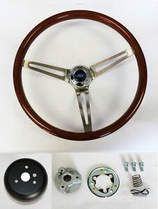 70 77 Mustang Maverick Torino 15 Wood Steering Wheel High Gloss Finish Ford Cap