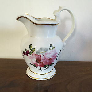 Antique Porcelain Pitcher 19th C Empire Old Paris Tucker Flowers Monogrammed