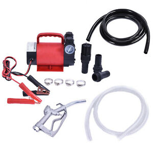 Portable 12v 10 Gpm Electric Diesel Oil And Fuel Transfer Extractor Pump Set Kit