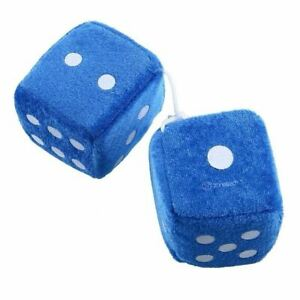 Zone Tech Vintage Pair Car Light Blue Teal Fuzzy Mirror Hanging Dice