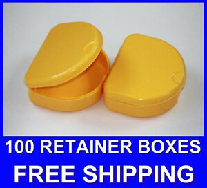 100 Yellow Denture Retainer Box Orthodontic Dental Case Mouth Ortho Brace Teeth