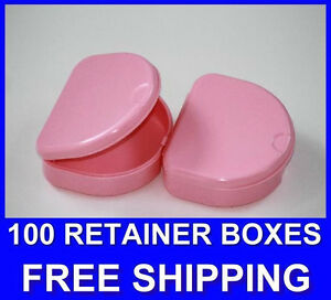 100 Pink Denture Retainer Box Orthodontic Dental Case Mouth Ortho Brace White