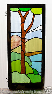 Large Tall Antique Stained Glass Window Ten Color Scene Lonely Tree 2989