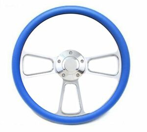 1963 1 2 1964 Ford Galaxy Fairlane Blue Billet Steering Wheel Adapter Kit