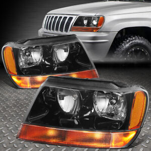 For 99 04 Jeep Grand Cherokee Wj Black Housing Amber Corner Headlight Headlamps