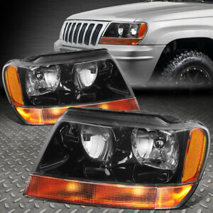 For 1999 2004 Jeep Grand Cherokee Black Housing Amber Side fog Lamp Headlight