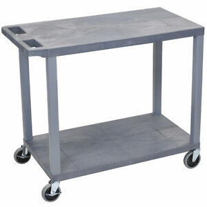 Luxor Ec22 g 32 X 18 inch Gray Presentation Cart With Two Flat Shelves