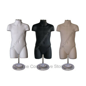 Child Black White Flesh Mannequin Body Forms W Economic Plastic Base 5t 7