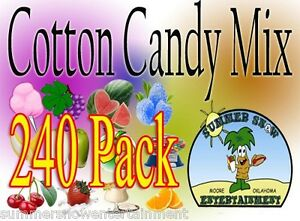 240 Pack Cotton Candy Mix W Sugar Flavoring Flossine Flavored Floss concession