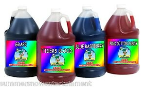 Sno Snow Cone Flavor Syrup Mix Match 4 X Gallon Summer Snow Entertainment