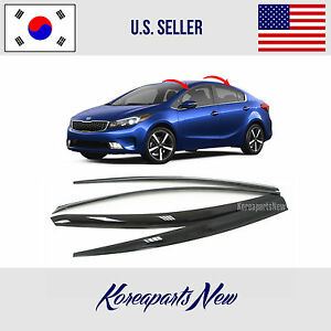 Smoked Door Window Vent Visor Rain Deflector 4pcs Kia Forte Sedan 2017 2018
