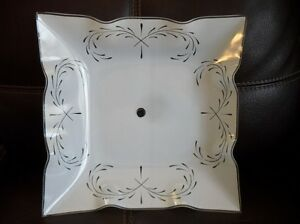Vintage Pleated Glass Ceiling Light Shade Square Paint Stroke Design Art Deco