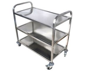 Commercial 3 shelf Stainless Steel Kitchen Restaurant Utility Cart With 4casters