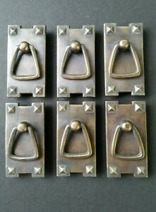 6 Mission Stickley Antique Style Brass Vertical Ring Handles Pulls 2 1 2 H25