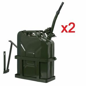 Lot Of 2 Jerry Can With Holder 20l Liter 5 Gallons Steel Tank Fuel Gasoline