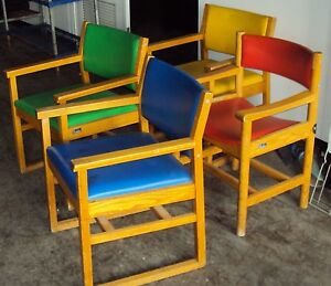 One Wood With Color Upholstery Chairs Red Blue Yellow Green Waiting Room