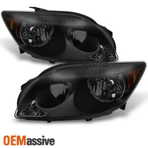 Fits 2005 2007 Scion Tc Ant10 Black Smoked Headlights Headlamps Replacement Pair