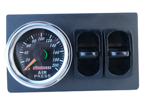 Dual Needle Air Gauge Panel 200psi 2 Paddle Switches Control Air Ride Suspension
