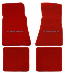 New Red Floor Mats 2010 2015 Camaro Embroidered Logo In Red 4 Pc Set Front Rear