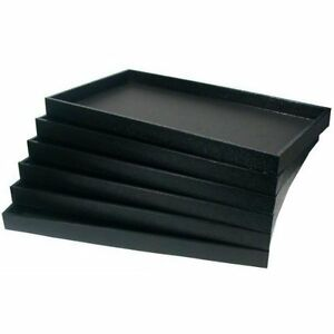 New 12 Black Plastic Full size Stackable Jewelry Storage Display Trays Case