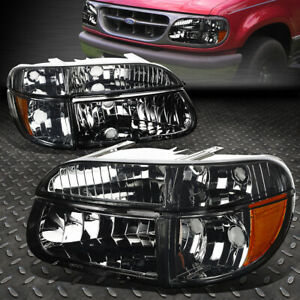 For 1995 2001 Ford Explorer Pair Smoked Housing Amber Corner Headlight Lamp Set