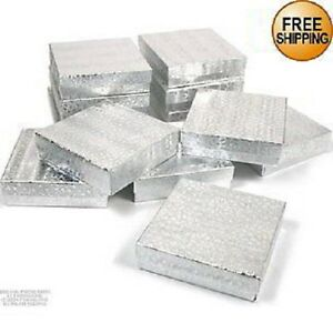 200 Silver Cotton Filled Jewelry Craft Gift Boxes 3 1 2