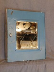 Vtg Industrial Metal Surface Mount Medicine Cabinet Beveled Mirror Old 948 16